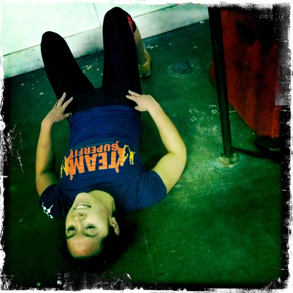 Jess after finishing 96 Burpees in Open WOD #1 !
